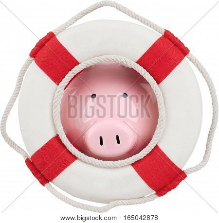 Life ring surrounding a piggy bank - concept of saving money or emergency fund