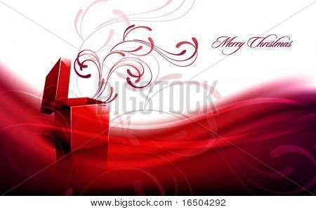 Christmas Greeting with Open Box   Floral Decoration   EPS10 Background   Separated on Layers Named Accordingly