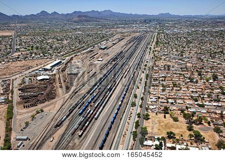 Massive train yard south of downtown Tucson Arizona viewed from overhead