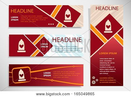 Condom  Icon On Vector Website Headers, Business Success Concept