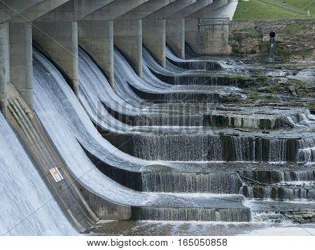 Running Water over the Dam at O'Shaughnessy in Dublin Ohio