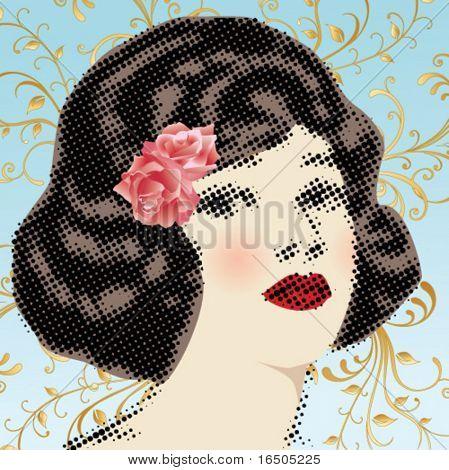 vector vintage woman