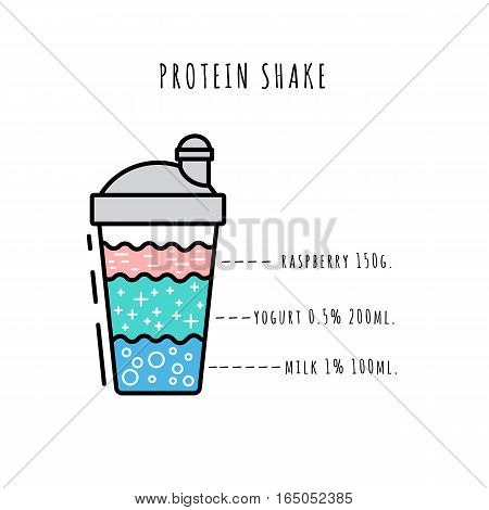 Protein shake sports drink. The recipe and composition of cooking natural protein shake. Drawn in a flat style and outline.