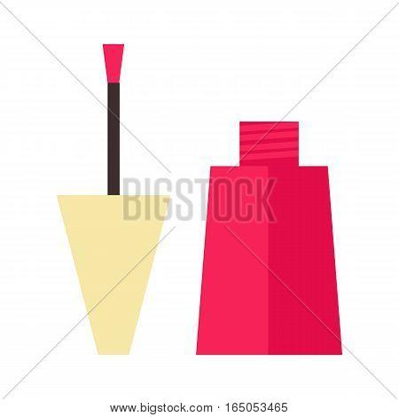 Red nail polish bottle on white background. Varnish enamel glamour fashion liquid. Cosmetic color beauty paint accessory female vector illustration.