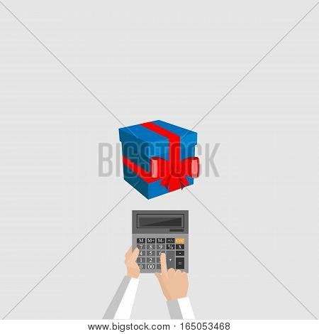 vector calculator and gifts, count on presents costs