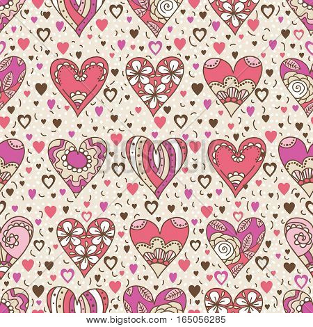 Beige square background with pink decorative valentine hearts with flowers vector illustration. Ideal for printing onto fabric and paper or scrap booking.