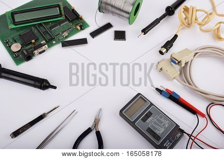 Mock up objects such as industrial controllers on a white background with copy space top view.