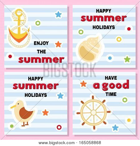 Set of funny backgrounds with summer vacation theme. Shell anchor wheel seagull bag on striped background. Vector illustration.