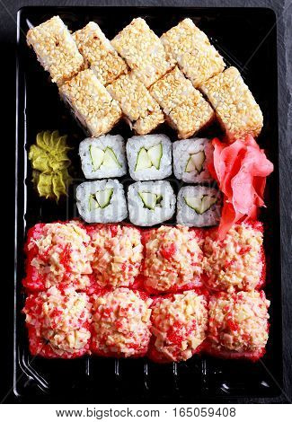 Assorted sushi mix in a box top view