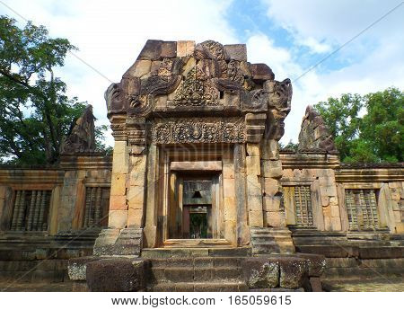The well-preserved ancient temple complex Prasat Hin Muang Tam, Northeastern of Thailand