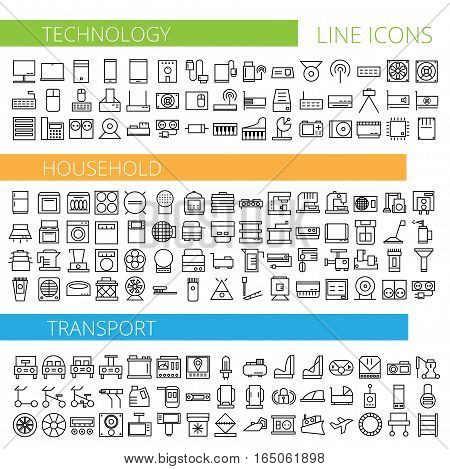 Vector illustration of thin line icons for technology household and transport - Linear symbols set
