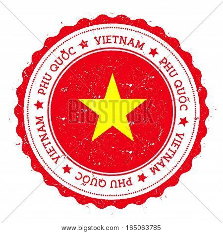 Phu Quốc Flag Badge. Vintage Travel Stamp With Circular Text, Stars And Island Flag Inside It. Vecto