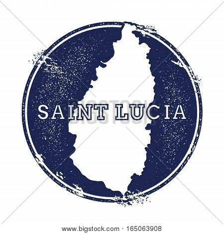 Saint Lucia Vector Map. Grunge Rubber Stamp With The Name And Map Of Island, Vector Illustration. Ca
