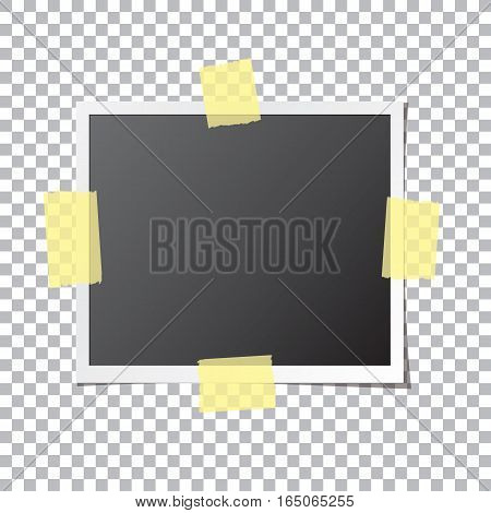 Abstract photo frame fixed by sticky tape isolated on transparent background. Photograph mockup template with blank space for your image. Detailed vector eps10 illustration with transparency.