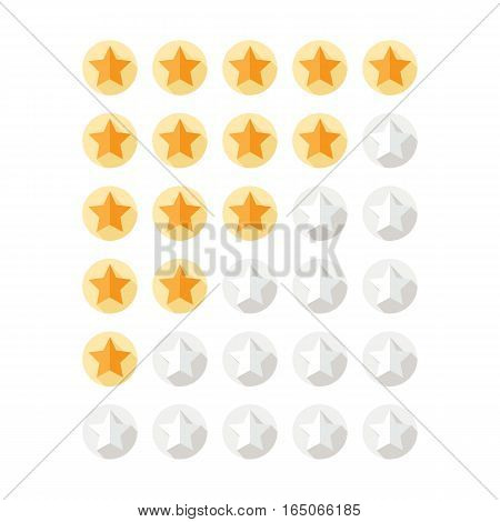 Set of stars rating design elements. Kit of star shapes for ranking interface. Voting symbols from zero to five points. Vector illustration in flat style.