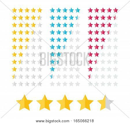 Stars rating design elements. Kit of star shapes for ranking interface. Set of voting symbols from zero to ten points. Vector illustration in flat style.