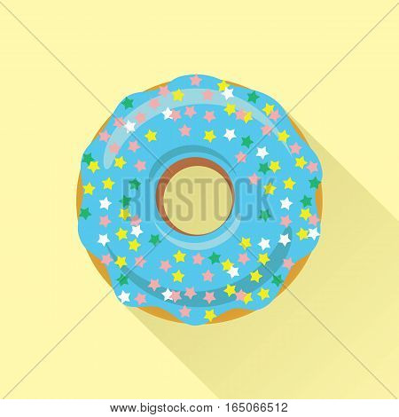 Donut flat style icon. Sweet sugar icing donut in the glaze with sprinkle topping of colorful stars on blue cream. Isolated eps8 vector illustration.