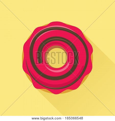 Donut flat style icon. Sweet sugar icing donut in the glaze of chocolate decoration on pink cream. Isolated eps8 vector illustration.