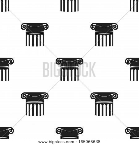 Column icon in  black style isolated on white background. Theater pattern vector illustration