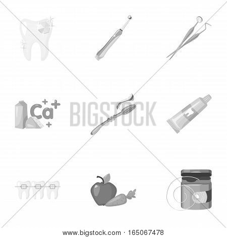 Dental care set icons in monochrome design. Big collection of dental care vector symbol stock illustration