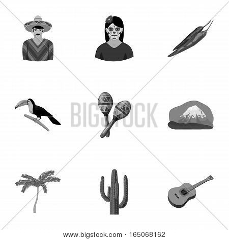 Mexico country set icons in monochrome design. Big collection of mexico country vector symbol stock illustration