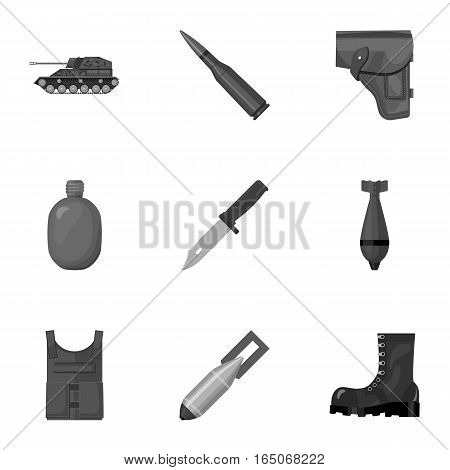 Military and army set icons in monochrome design. Big collection of military and army vector symbol stock illustration