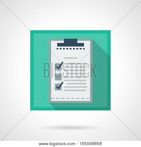 Clipboard with checklist with marks. Element for tasking, sport training and results, management or reports. Office items. Square flat design vector icon.