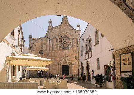 Ostuni, Italy - August 8, 2015: Cathedral of Santa Maria Assunta in Ostuni Puglia Italy.