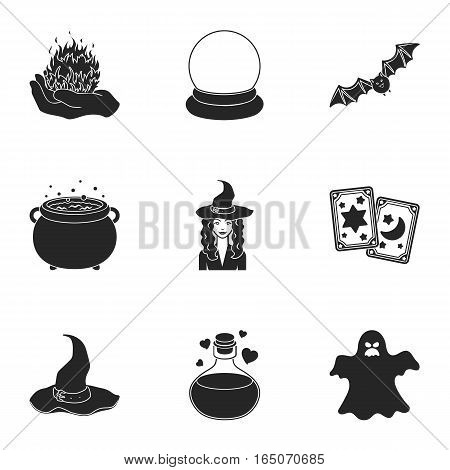 Black and white magic set icons in black style. Big collection of black and white magic vector symbol stock