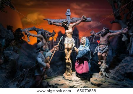 Handmade Wooden Statues Representing The Crucifixion Of Jesus.