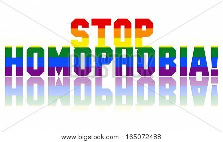 Stop Homophobia illustration with LGBT colors and a white background