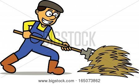 Farmer Working with Pitchfork Cartoon Illustration. Vector Character.