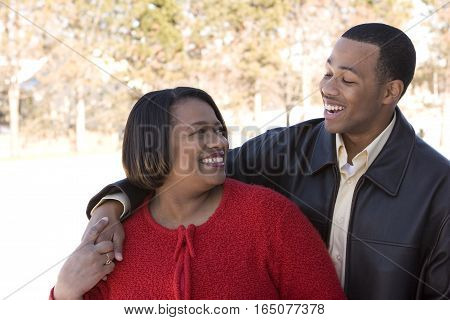 Portrait of an African American mother and her son.