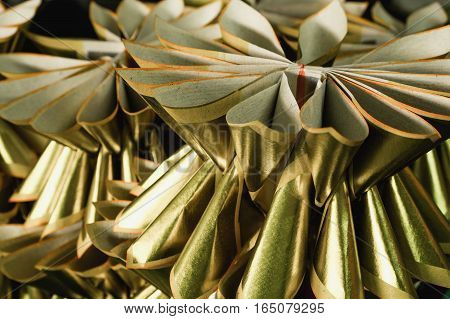 Chinese gold joss paper use for make sacrifice to gods ancestors or ghosts with selective focus