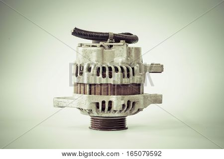 Old alternator for the car with color filter effect