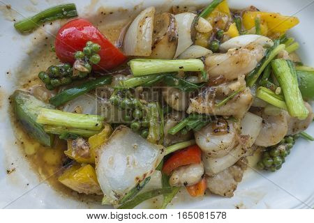 Made from fresh seafood squid and shellfish taken from the sea.