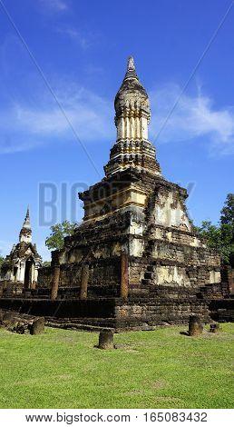 Closeup Pagoda Wat Chedi Seven Rows Temple In Sukhothai