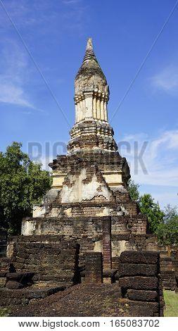 Closeup Historical Pagoda Wat Chedi Seven Rows Temple