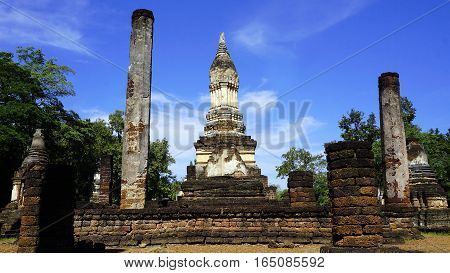 Wat Chedi Seven Rows Temple Pagoda Ruins Landscape