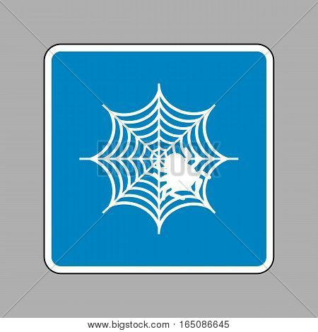 Spider On Web Illustration White Icon On Blue Sign As Background