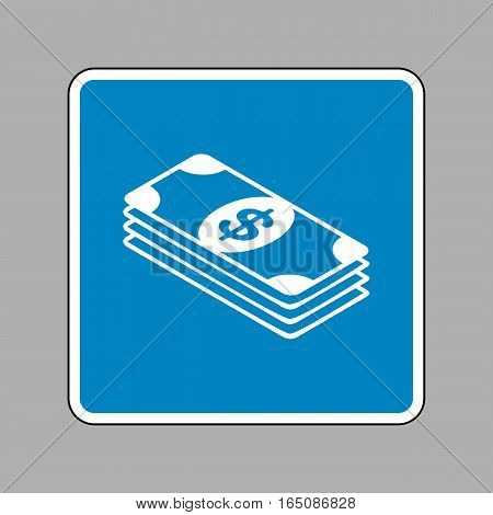 Bank Note Dollar Sign. White Icon On Blue Sign As Background.