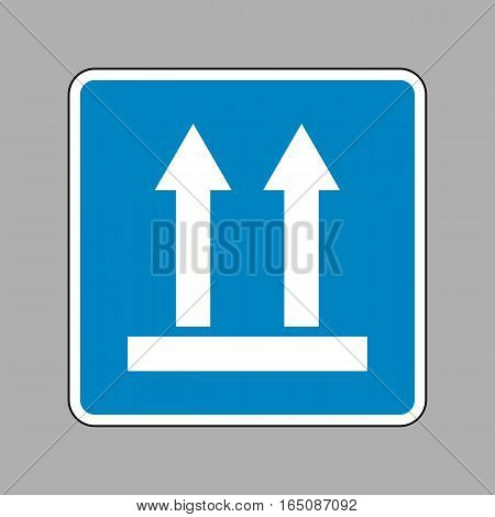 Logistic Sign Of Arrows. White Icon On Blue Sign As Background.