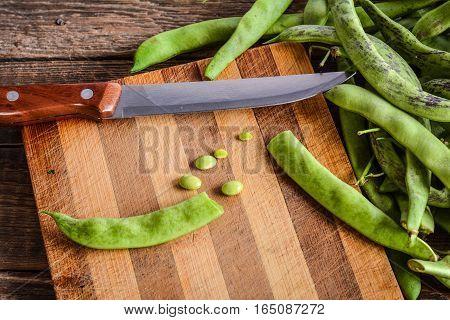 Pods of green beans. Cook green beans