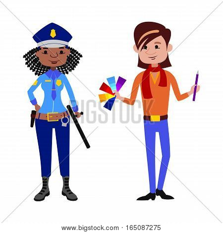 People police officer and artist different professions vector illustration. Success teamwork diversity human work lifestyle. Standing successful young person character in uniform.