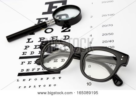 eyesight test with black small magnifier, black glasses and snellen chart
