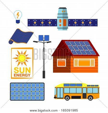 Green energy for urban landscape ecology. Flat design vector concept illustration. Natural planet pollution industrial light battery design. Alternative technology electricity system.