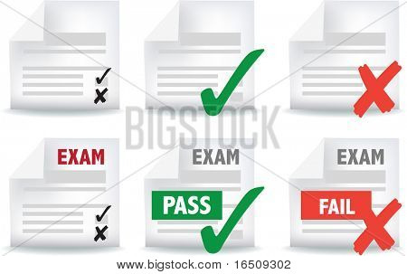 icon and symbol set of exam papers pass and fail