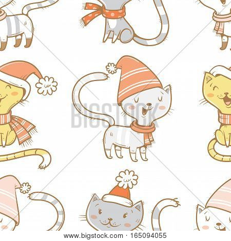 Seamless pattern with cute cartoon cats  in knitted scarves and hats on white  background.  Funny kittens. Animals  in clothes. Vector image. Children's illustration.
