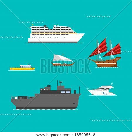 Ship and boats sea symbol vessel travel industry vector. Symbol of sailboats and cruise. Set of marine icon commercial design element. Export business trade water cargo transportation.