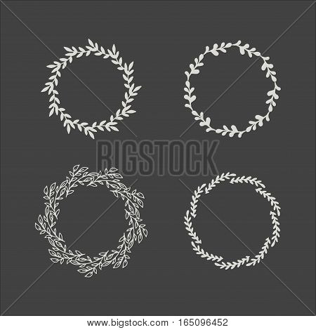 Nature floral wreath decoration with foliage. Greeting holidays card vector template. Hand drawing romance blossom silhouette bouquet illustration.